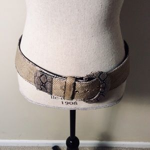 Chico's gold belt with leopard print buckle Med